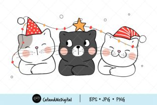 Christmas Cute Cat Clipart. Graphic Illustrations By CatAndMe