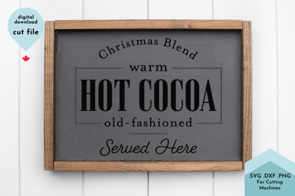 Print on Demand: Christmas Sign Cut File - Hot Cocoa Grafik Plotterdateien von Lettershapes