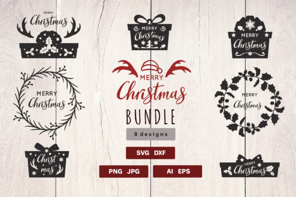 Print on Demand: Christmas Silhouette Bundle Graphic Crafts By pufanya