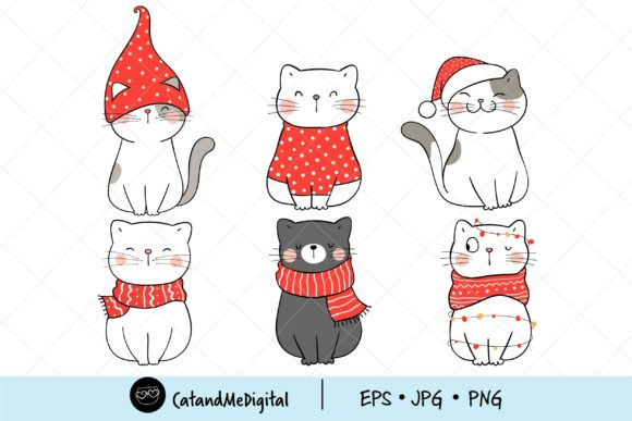 Christmas Cat Digital Clipart Graphic Illustrations By CatAndMe