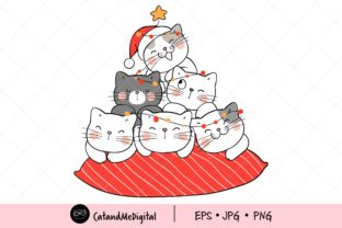 Christmas Cat with Light Clipart. Graphic Illustrations By CatAndMe