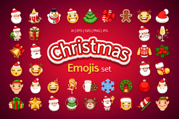Christmas Emojis Set Graphic Icons By Voysla's Shop