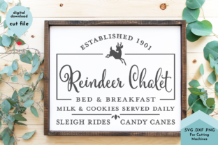 Print on Demand: Christmas Farmhouse Sign - Reindeer Graphic Crafts By Lettershapes