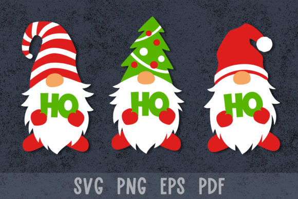 Christmas Gnomes Ho Ho Ho Graphic Crafts By GreenWolf Art