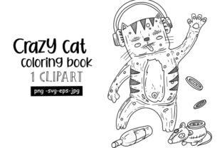 Print on Demand: Crazy Cat Black & White Clipart Graphic Coloring Pages & Books Kids By stanosh
