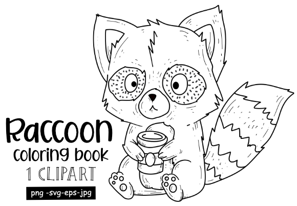Print on Demand: Cute Raccoon Drinking Coffee Graphic Coloring Pages & Books Adults By stanosh