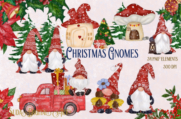 Print on Demand: Cute Red Gnomes Christmas Clipart Graphic Illustrations By Suda Digital Art