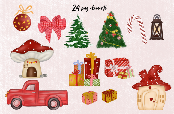 Cute Red Gnomes Christmas Clipart Graphic Design