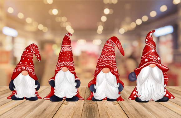 Cute Red Gnomes Christmas Clipart Graphic Downloadable Digital File