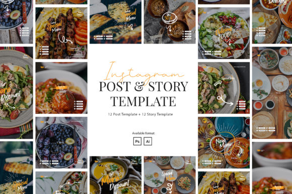 Print on Demand: Elegant Restaurant Instagram Template Graphic Web Elements By peterdraw