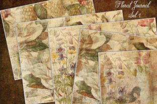 Floral Journal Papers Set 1 Graphic Illustrations By LilBitDistressed