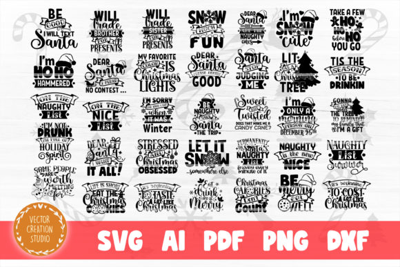 Print on Demand: Funny Christmas SVG Bundle Cut File Graphic Crafts By VectorCreationStudio