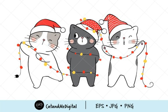 Funny Cat Christmas with Light Clipart. Graphic
