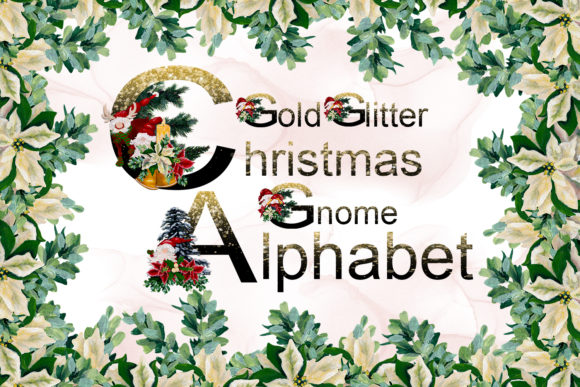 Print on Demand: Gold Glitter Christmas Gnome Alphabet Graphic Illustrations By Andreea Eremia Design