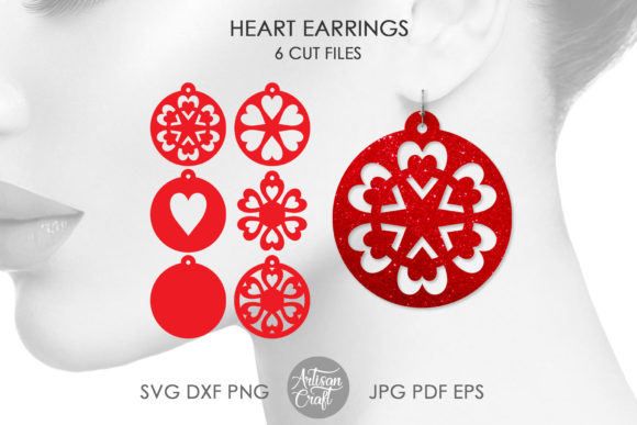 Print on Demand: Heart Earrings Graphic 3D SVG By Artisan Craft SVG