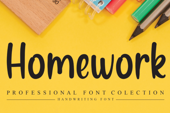 Print on Demand: Homework Script & Handwritten Font By flowerletter