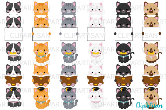 Kittens Clipart Kitty Cats Graduation Graphic Illustrations By ClipArtisan