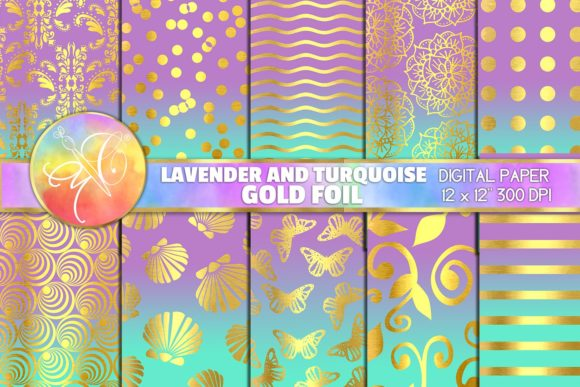 Lavender and Turquoise Digital Paper Graphic Backgrounds By paperart.bymc