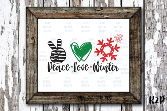 Print on Demand: Peace Love Winter Snowflake Christmas Graphic Crafts By KtwoP