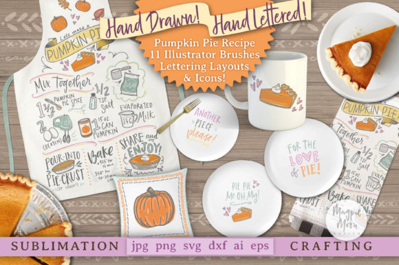 Pumpkin Pie Recipe, Graphics & Brushes!! Grafik Illustrationen von Maggie June
