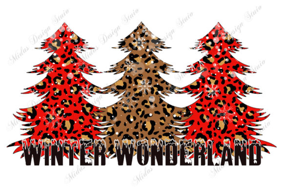 Red Leopard Christmas Tree Graphic Crafts By MidasStudio