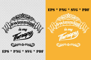 Print on Demand: Swimming is My Therapy Vector SVG Graphic Illustrations By GraphicsFarm
