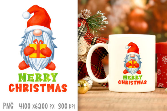 Watercolor Christmas Santa Gnome Png Graphic Crafts By GreenWolf Art