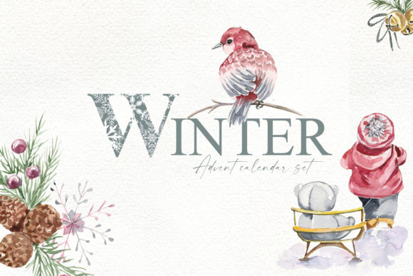 Print on Demand: Winter. Advent Calendar Set Graphic Illustrations By laffresco04