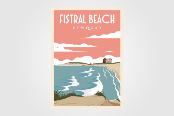 Fistral Beach Vintage Poster Designs Graphic Graphic Templates By lawoel