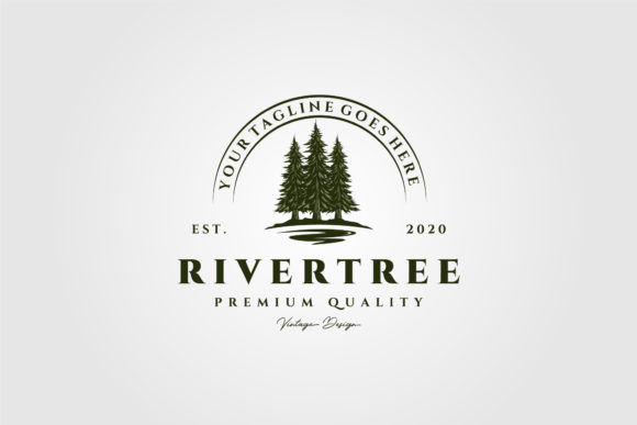 River Pine Tree Vintage Logo Vector Graphic Logos By lawoel