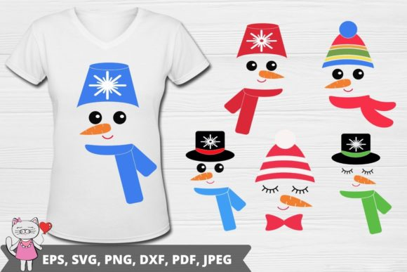 Snowman Face Svg, for Silhouette Graphic Illustrations By  Magic world of design