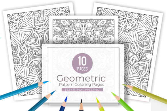 Print on Demand: 10 Abstract Pattern Coloring Page Graphic Coloring Pages & Books Adults By doridodesign