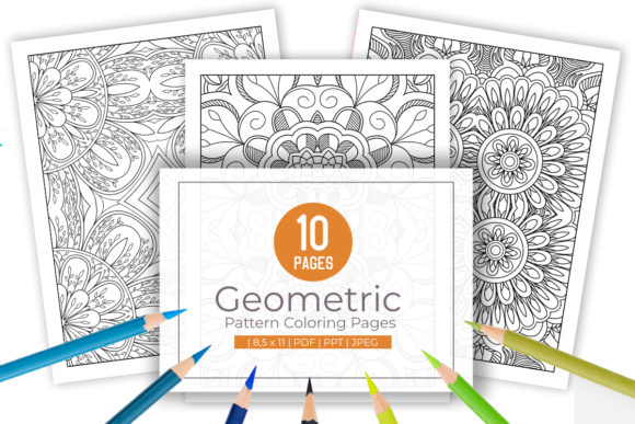 Print on Demand: 10 Cool Geometric Pattern Coloring Pages Graphic Coloring Pages & Books Adults By doridodesign