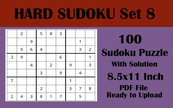 100 HARD LEVEL Sudoku Puzzles 8.5x11 V 8 Graphic KDP Interiors By Seven Elephant