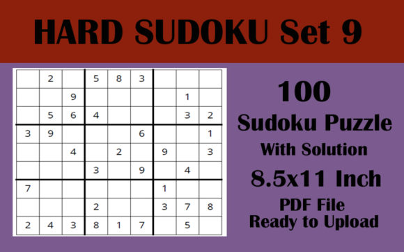100 HARD LEVEL Sudoku Puzzles 8.5x11 V 9 Graphic KDP Interiors By Seven Elephant