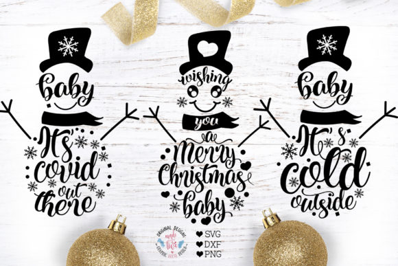 3 Christmas Winter Snowman Designs Graphic Illustrations By GraphicHouseDesign