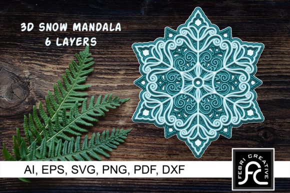 Print on Demand: 3d Layered Snow Mandala - SVG Graphic 3D SVG By Febri Creative
