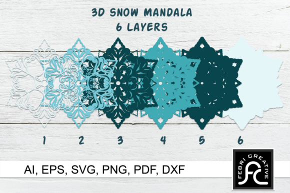 3d Layered Snow Mandala - SVG Graphic Download