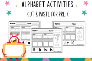 Alphabet Cut & Paste for Pre-K Graphic K By Happy Kiddos