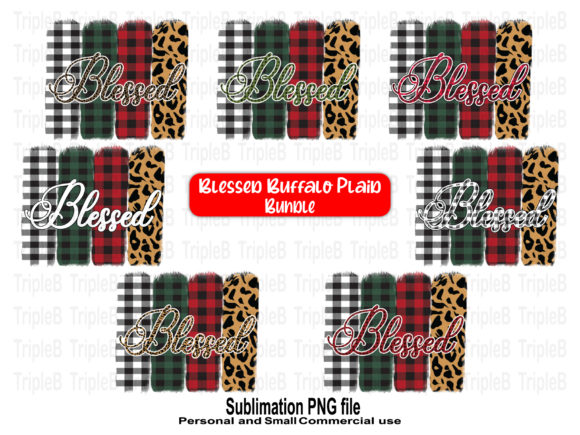Print on Demand: Blessed Christmas Buffalo Plaid Bundle Graphic Crafts By TripleBcraft