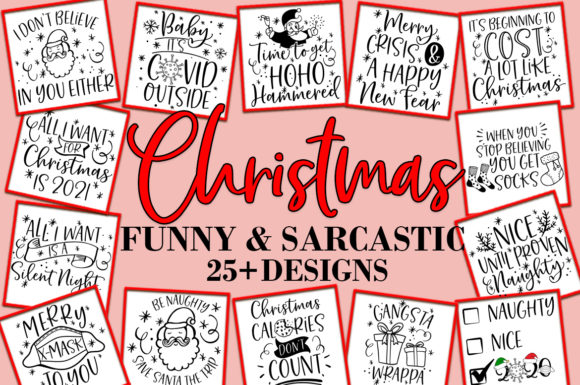 Print on Demand: Christmas Funny and Sarcastic Bundle SVG Graphic Crafts By freelingdesignhouse