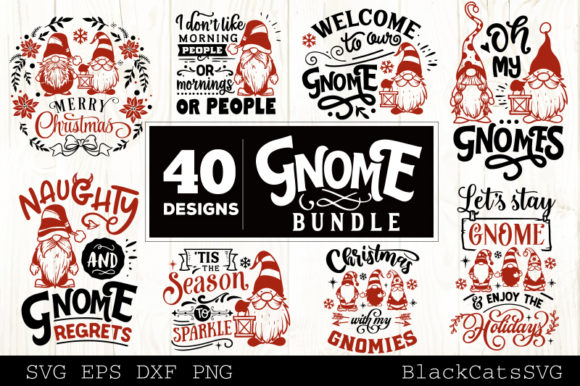 Print on Demand: Christmas Gnome Bundle Graphic Crafts By BlackCatsMedia