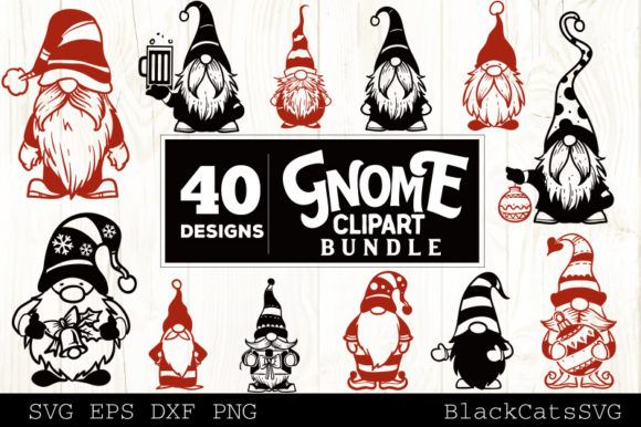 Print on Demand: Christmas Gnomes SVG Bundle Gnome Clipar Graphic Crafts By BlackCatsMedia