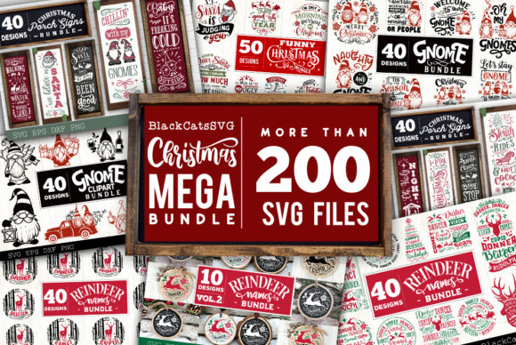 Print on Demand: Christmas Mega Bundle SVG Bundle 210 Des Graphic Crafts By BlackCatsMedia