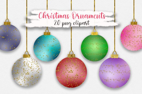 Christmas Ornaments Glitter Clipart Graphic Illustrations By PinkPearly