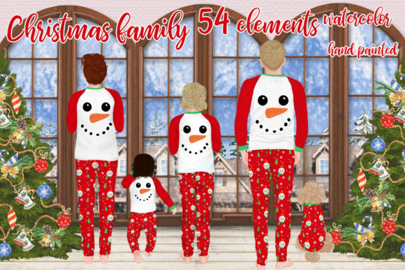 Christmas Family Clipart,Matching Pajama Graphic Illustrations By LeCoqDesign