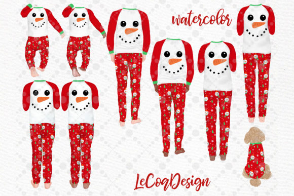 Christmas Family Clipart,Matching Pajama Graphic Download