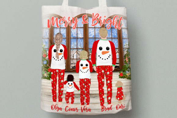 Christmas Family Clipart,Matching Pajama Graphic Downloadable Digital File
