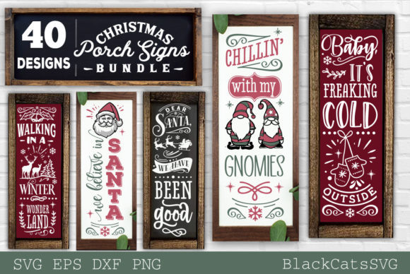 Christmas Porch Signs Bundle SVG Graphic