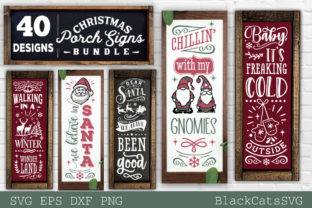 Print on Demand: Christmas Porch Signs Bundle SVG Graphic Crafts By BlackCatsMedia
